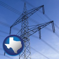 texas map icon and electrical utility transmission towers