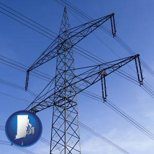 electrical utility transmission towers - with Rhode Island icon